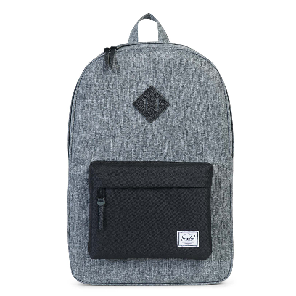 Herschel Heritage Rugzak Raven Crosshatch-Black-Black Pebbled Leather