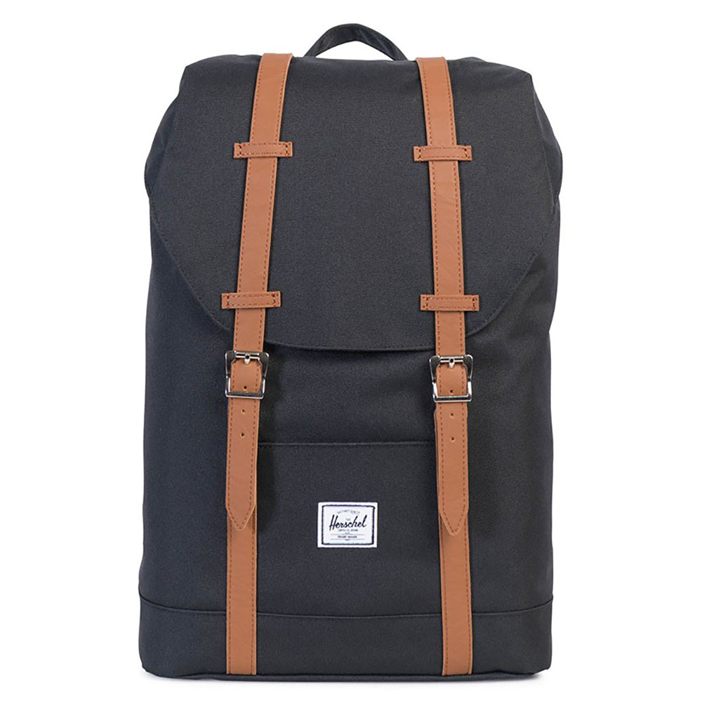 Herschel Retreat Mid-Volume Rugzak Black/Tan Synthetic Leather