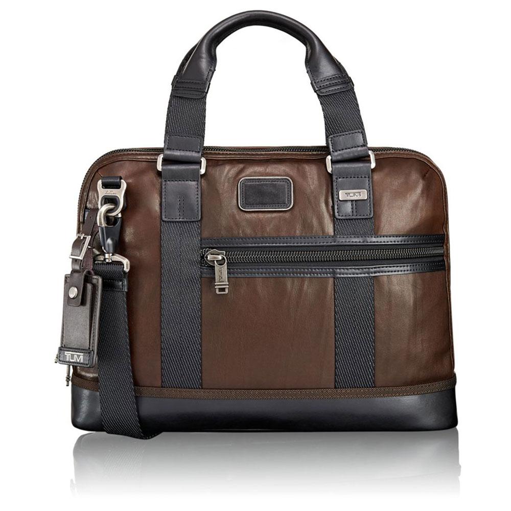 Tumi Alpha Bravo Earle Compact Leather Brief Dark Brown