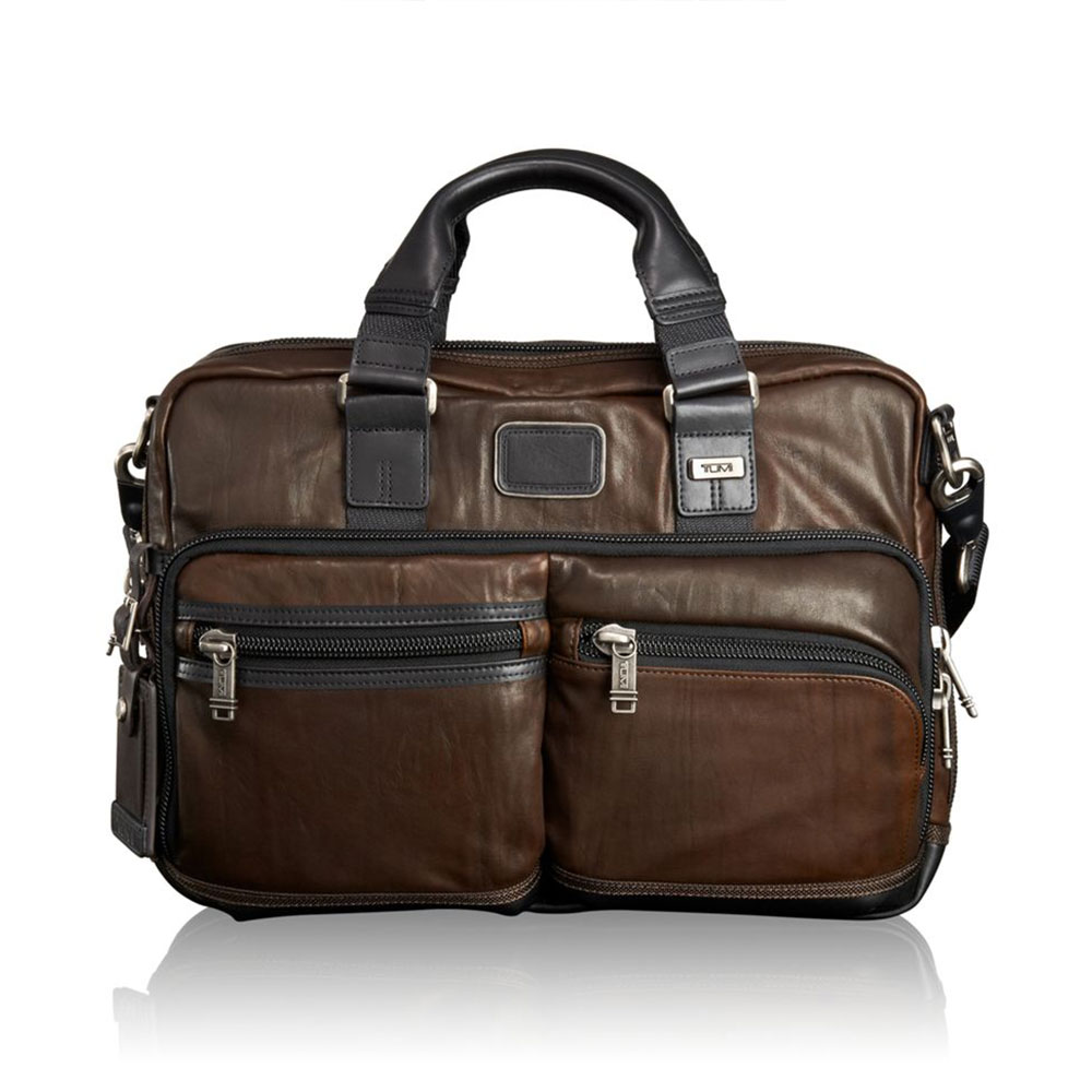 Tumi Alpha Bravo Anderson Slim Commuter Leather Brief Dark Brown
