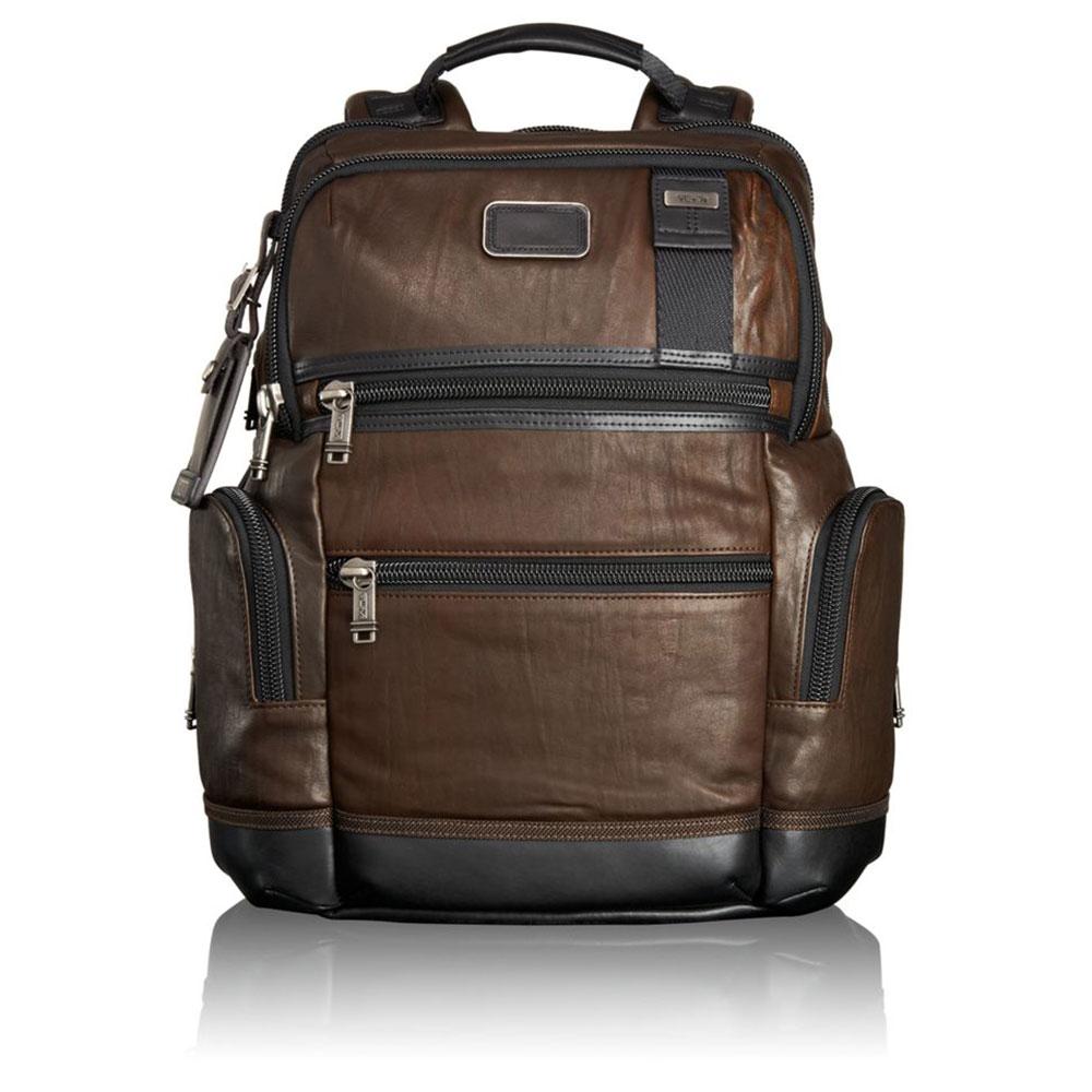 Tumi Alpha Bravo Knox Leather Rugzak Dark Brown