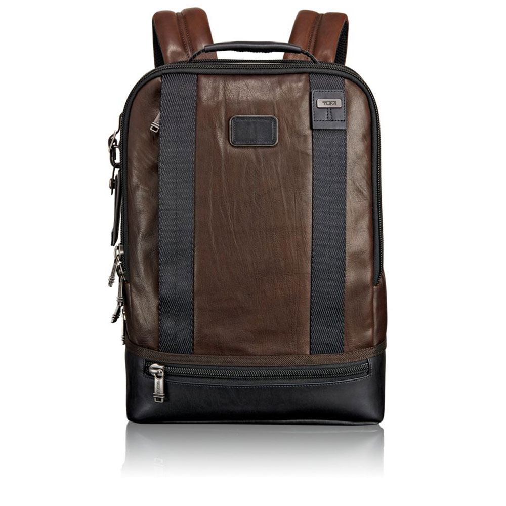 Tumi Alpha Bravo Dover Leather Rugzak Dark Brown