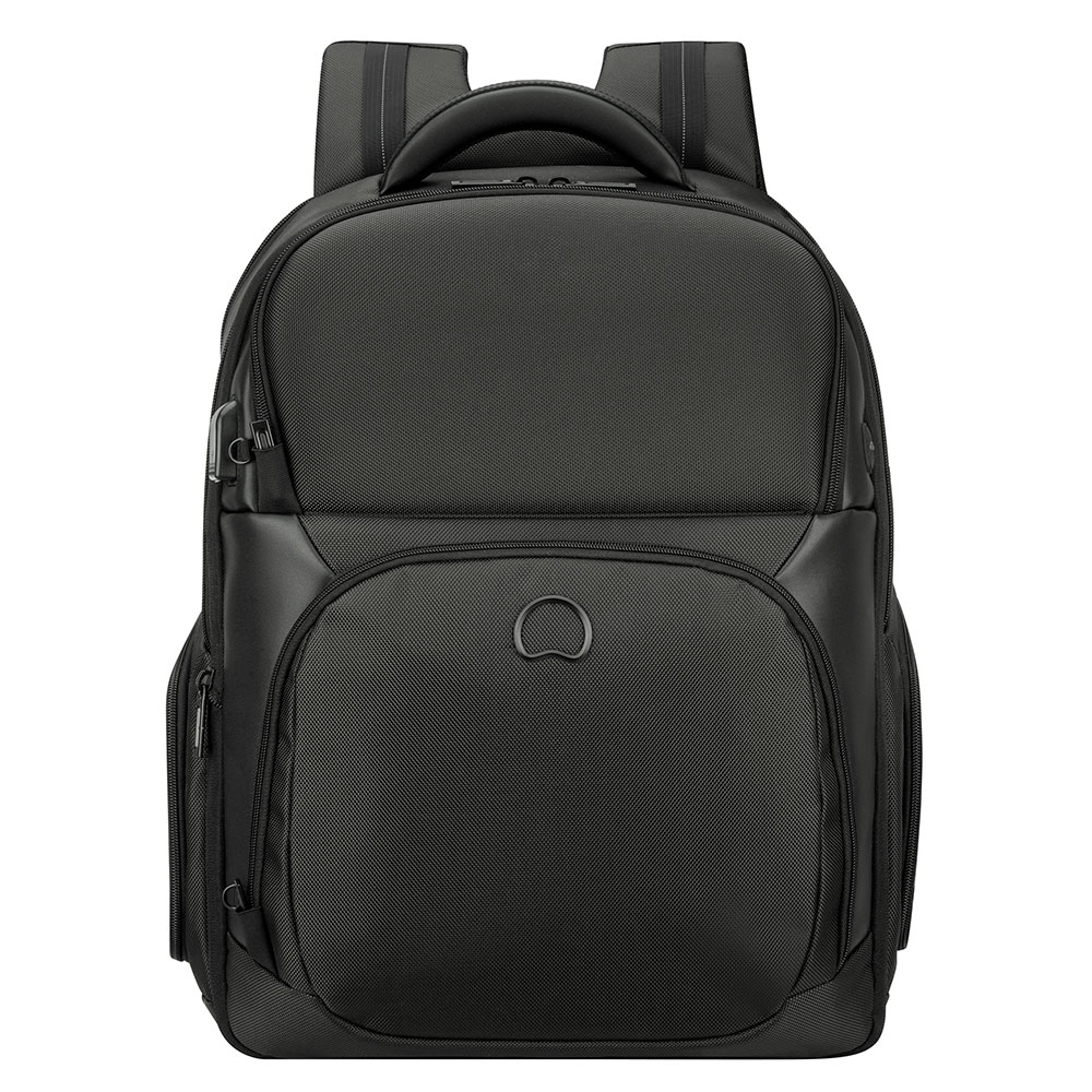 2ee16bbd7a2 Delsey Quarterback Premium 2-CPT Backpack Large 17'' Expandable  Black