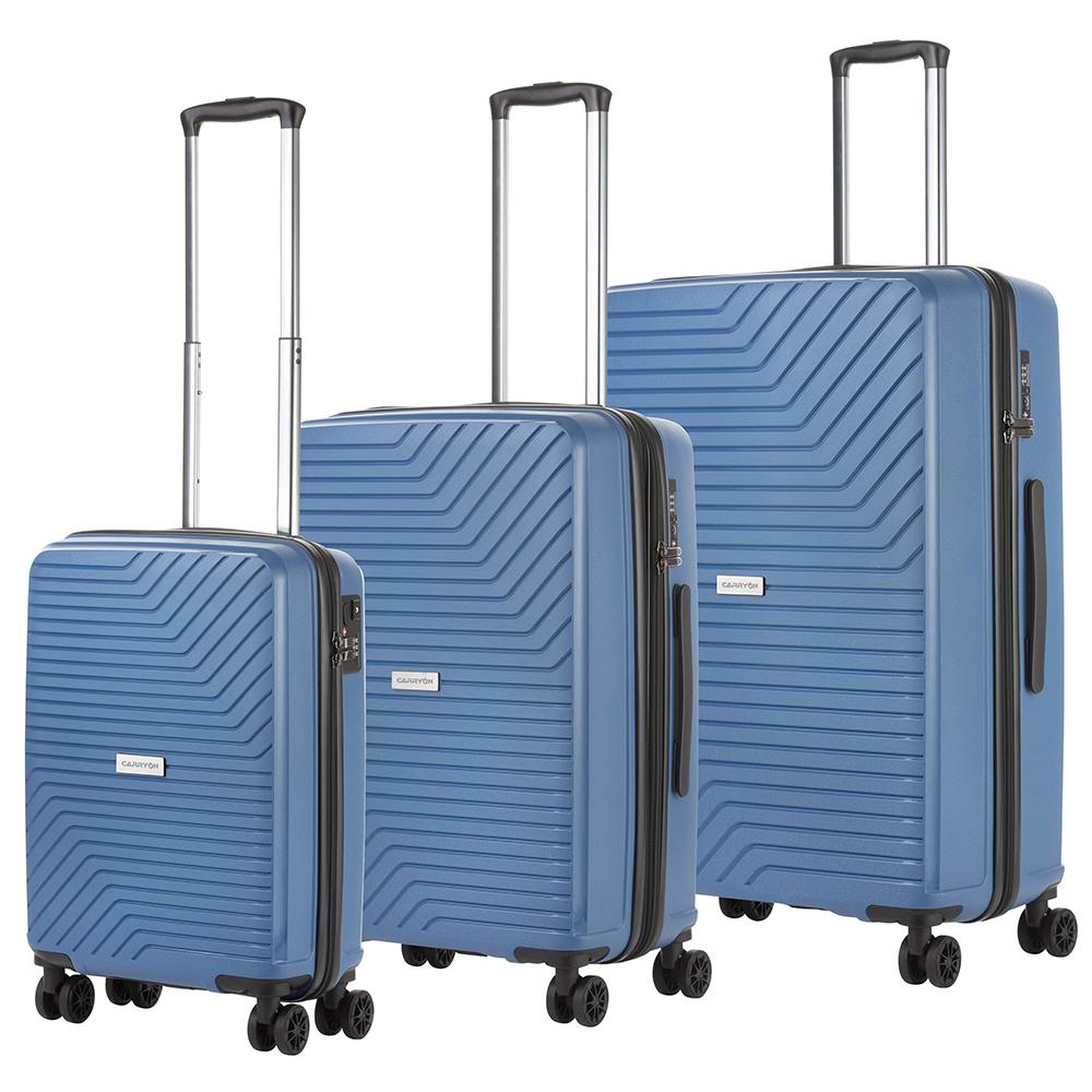 CarryOn Transport Kofferset -Trolleyset met OKOBAN YKK USB Blauw