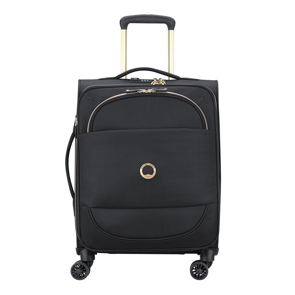 Delsey Montrouge Slim Cabin Trolley Case 4 Wheel 55 Expandable Black