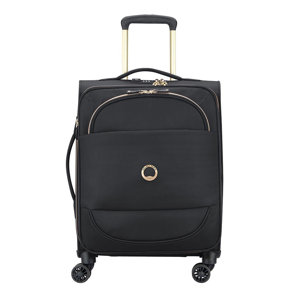 Delsey Montrouge Slim Cabin Trolley Case 4 Wheel 55 Expandable Black
