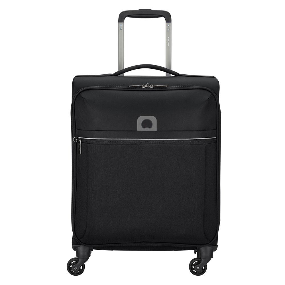 Delsey Brochant 4 Wheels Slim Cabin Trolley 55 black Zachte koffer
