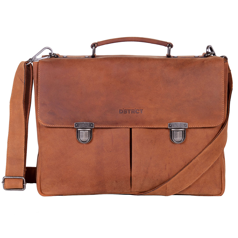 DSTRCT A4 Business Wall street 15 laptop tas Cognac