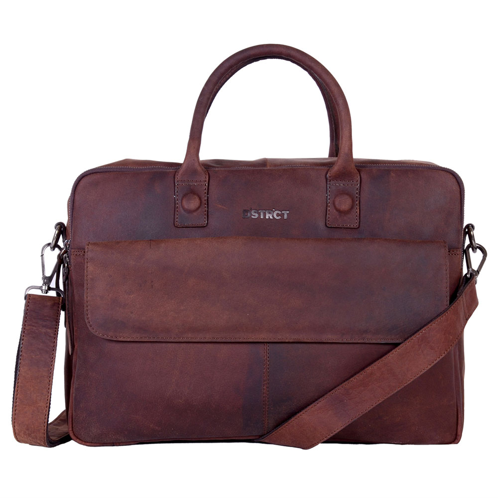 DSTRCT Wall Street Business Laptop Bag Brown 15-17 inch
