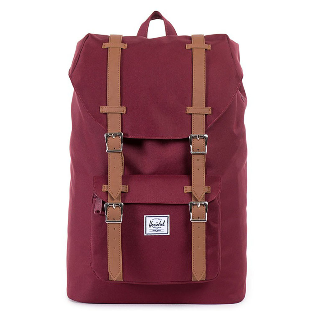 Herschel Little America Mid Volume Rugzak Windsor Wine/Tan Synthetic Leather