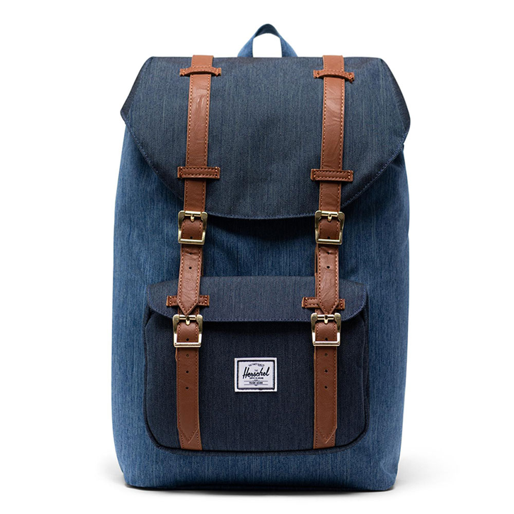 Herschel Little America Mid Volume Rugzak Faded Denim/ Indigo Denim/ Tan Synth L