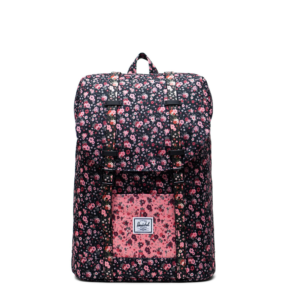 Herschel Retreat Youth Rugzak Multi Ditsy Floral Black Flamingo Pink