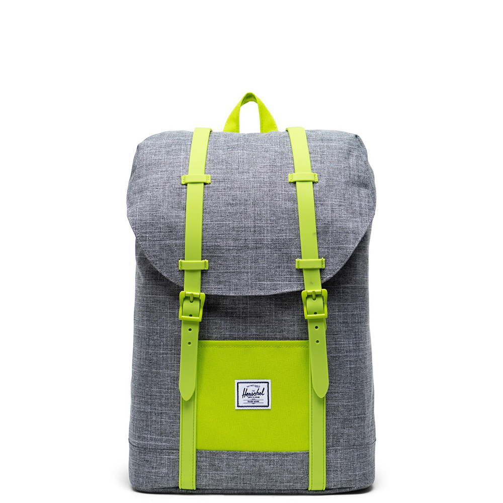Herschel Retreat Youth Rugzak Raven Crosshatch Lime Green