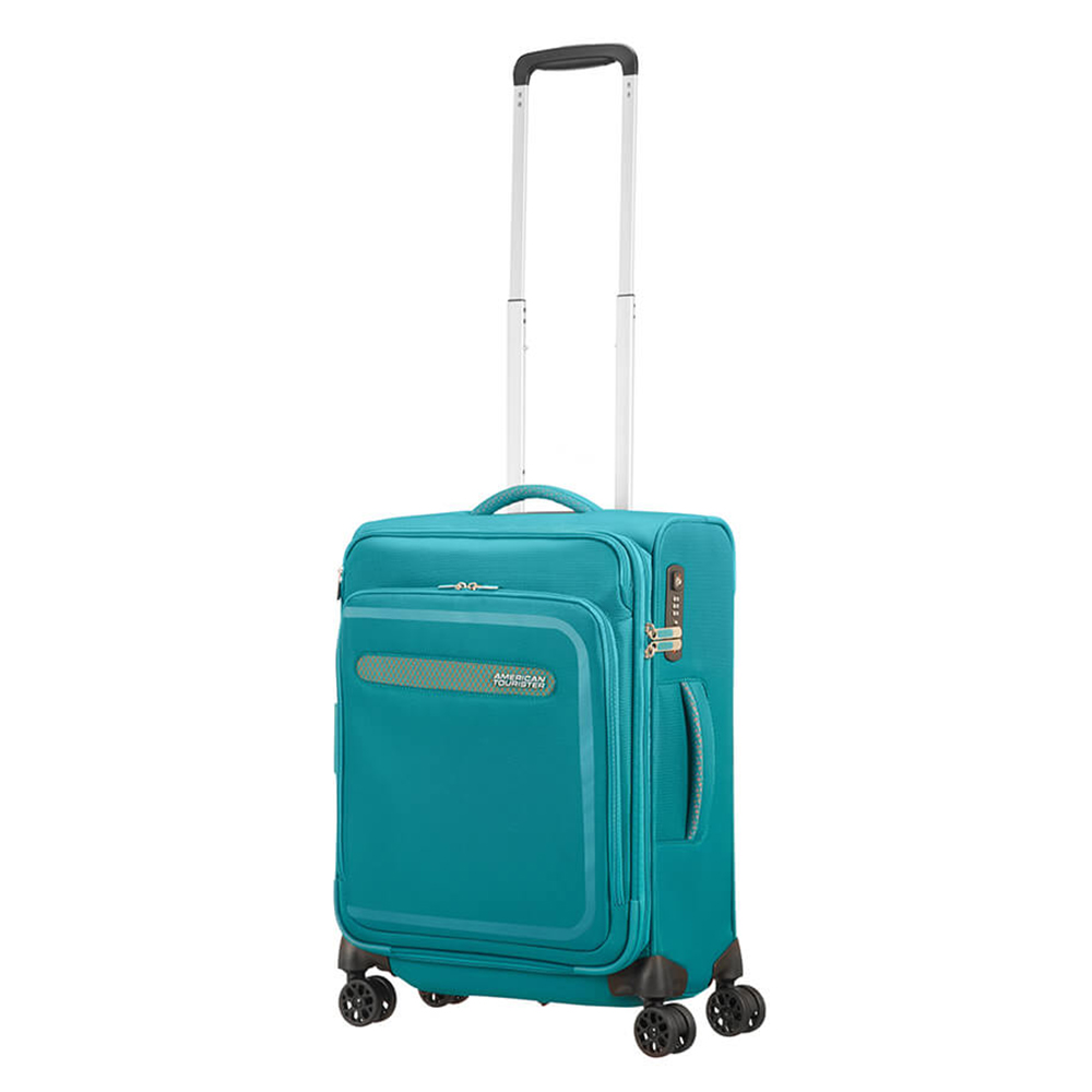 Afbeelding van American Tourister Airbeat Spinner 55 Exp. Sky Blue Zachte Koffers