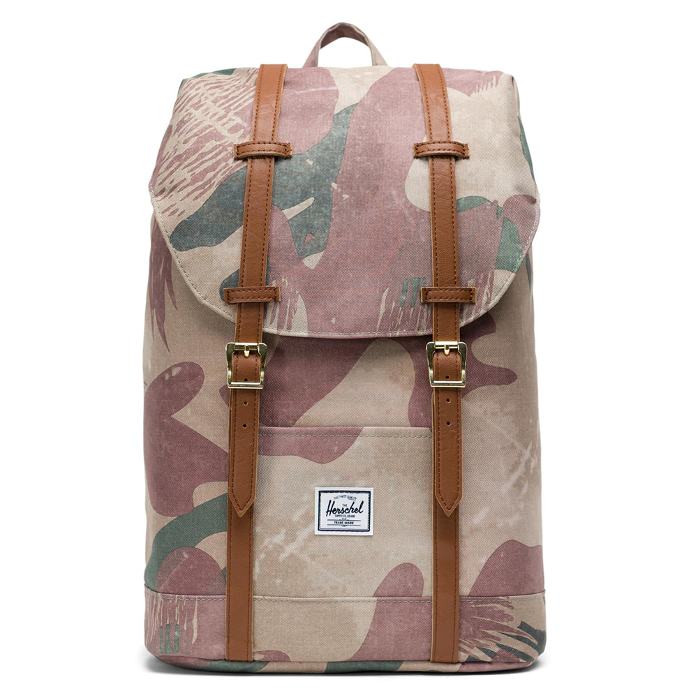 Herschel Retreat Mid-Volume Rugzak Brushstroke Camo/Tan Synthetic Leather