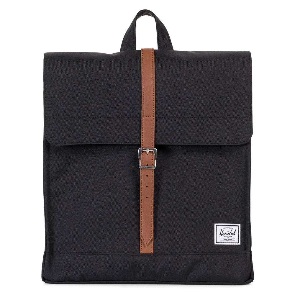 Herschel City Rugzak Mid-Volume Black/Tan Synthetic Leather