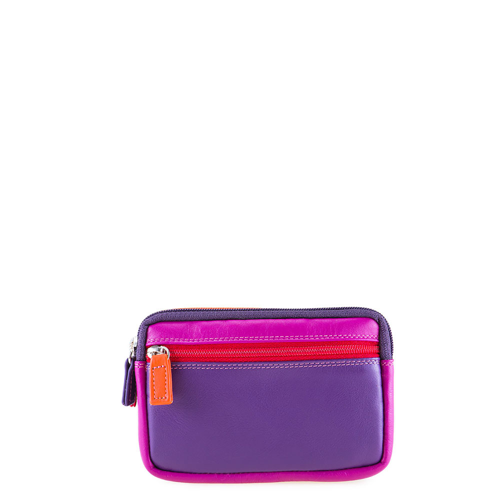Mywalit Small Leather Double Zip Purse Portemonnee Sangria Multi