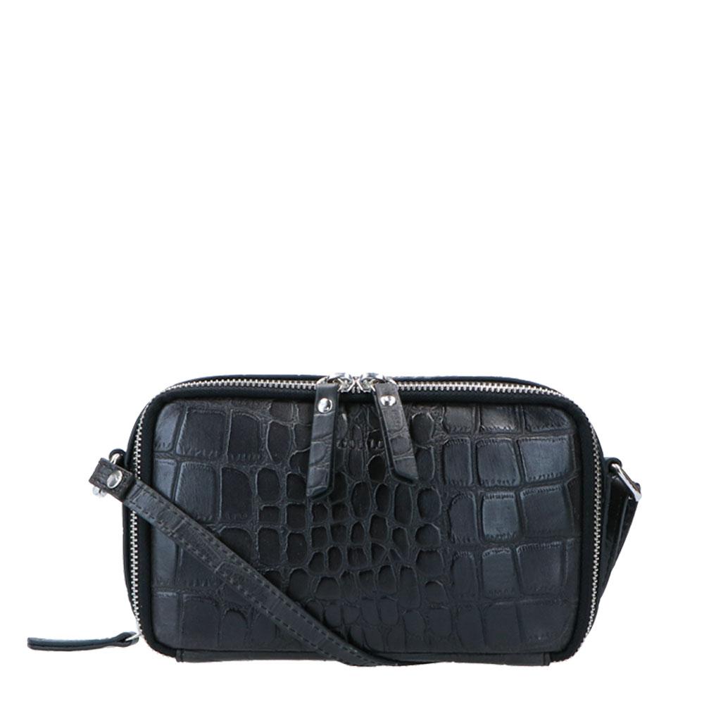 LouLou Essentiels Vintage Croco Silver Camera Bag Black