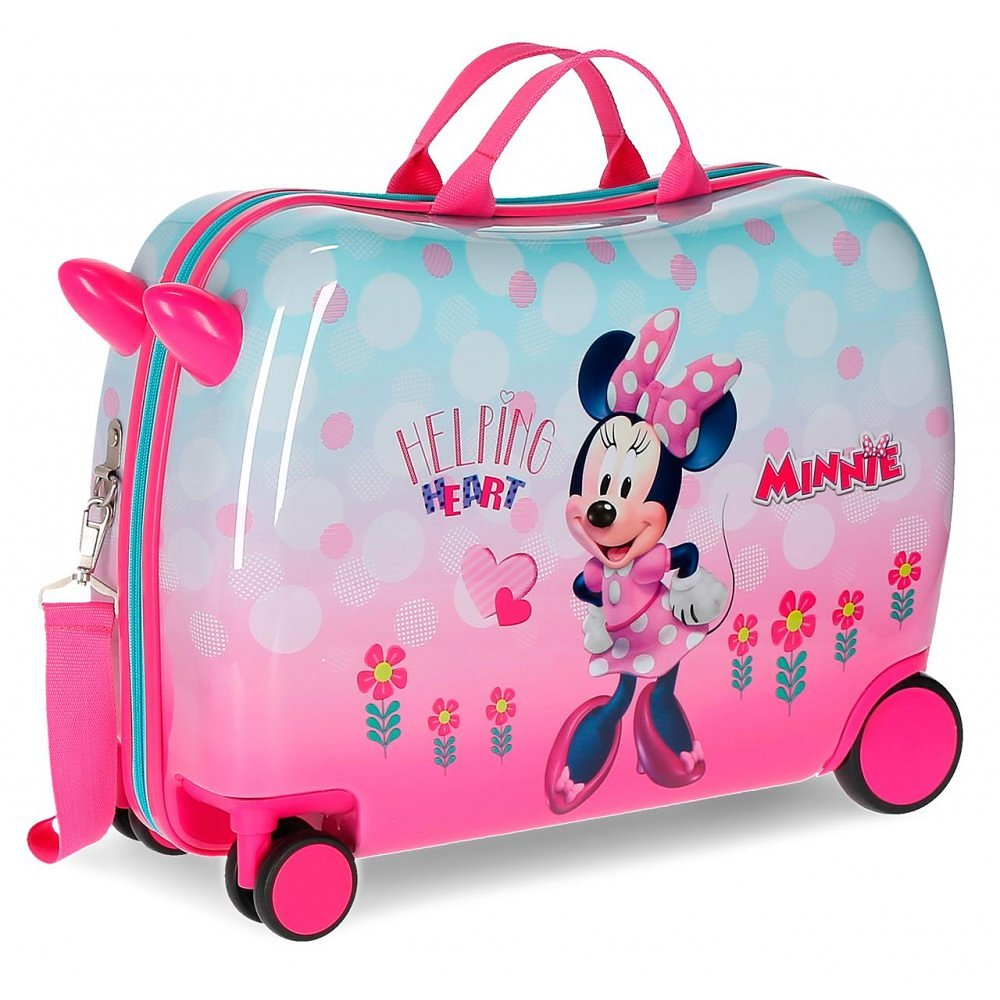 Disney Rolling Suitcase 4 Wheels Minnie Mouse Helping Heart