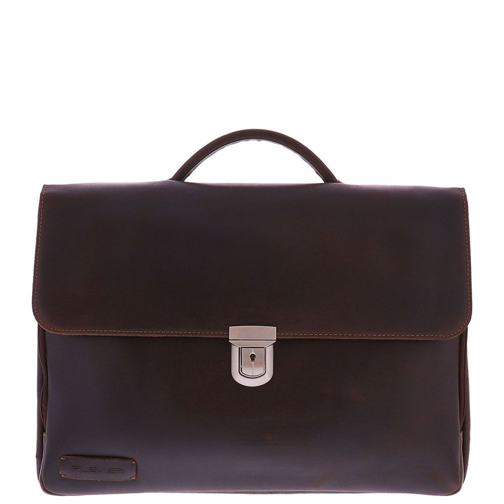Plevier Vintage Oxford Laptoptas 3-vaks 15.6 Brown - Laptoptassen