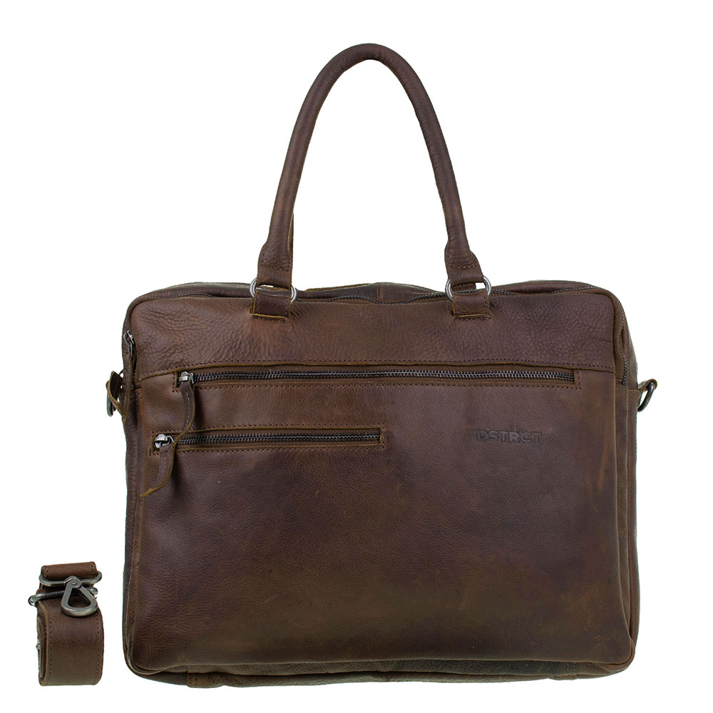DSTRCT Raider Road Laptoptas 2-Vaks 15 Cognac/ Brown 360130