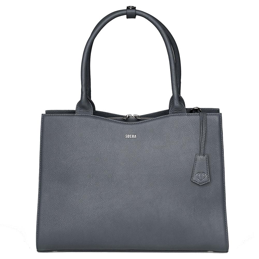 Socha Diamond Leather Businessbag 15.6 Grey