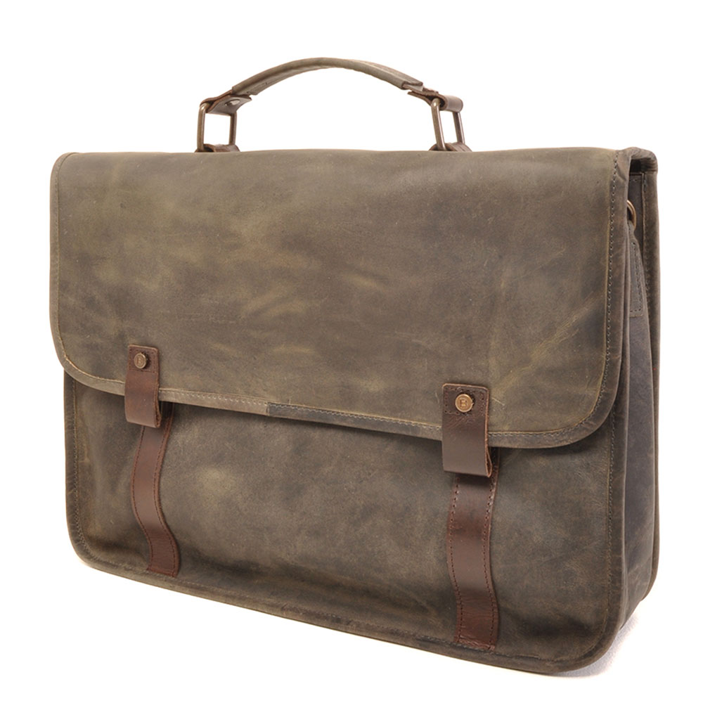 "Afbeelding van Barbarossa Ruvido Brief Case Laptop Schoudertas 15.4"" Military"