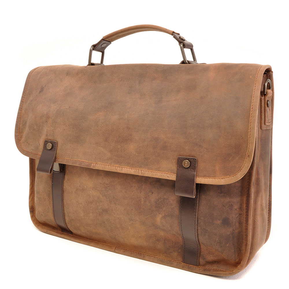 "Afbeelding van Barbarossa Ruvido Brief Case Laptop Schoudertas 15.4"" Coffee"