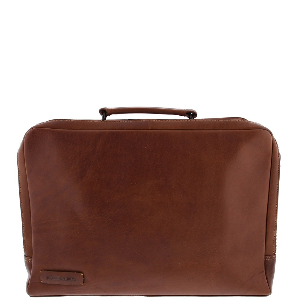 Plevier Leren 2-vaks Laptoptas 15,6 inch Bruin