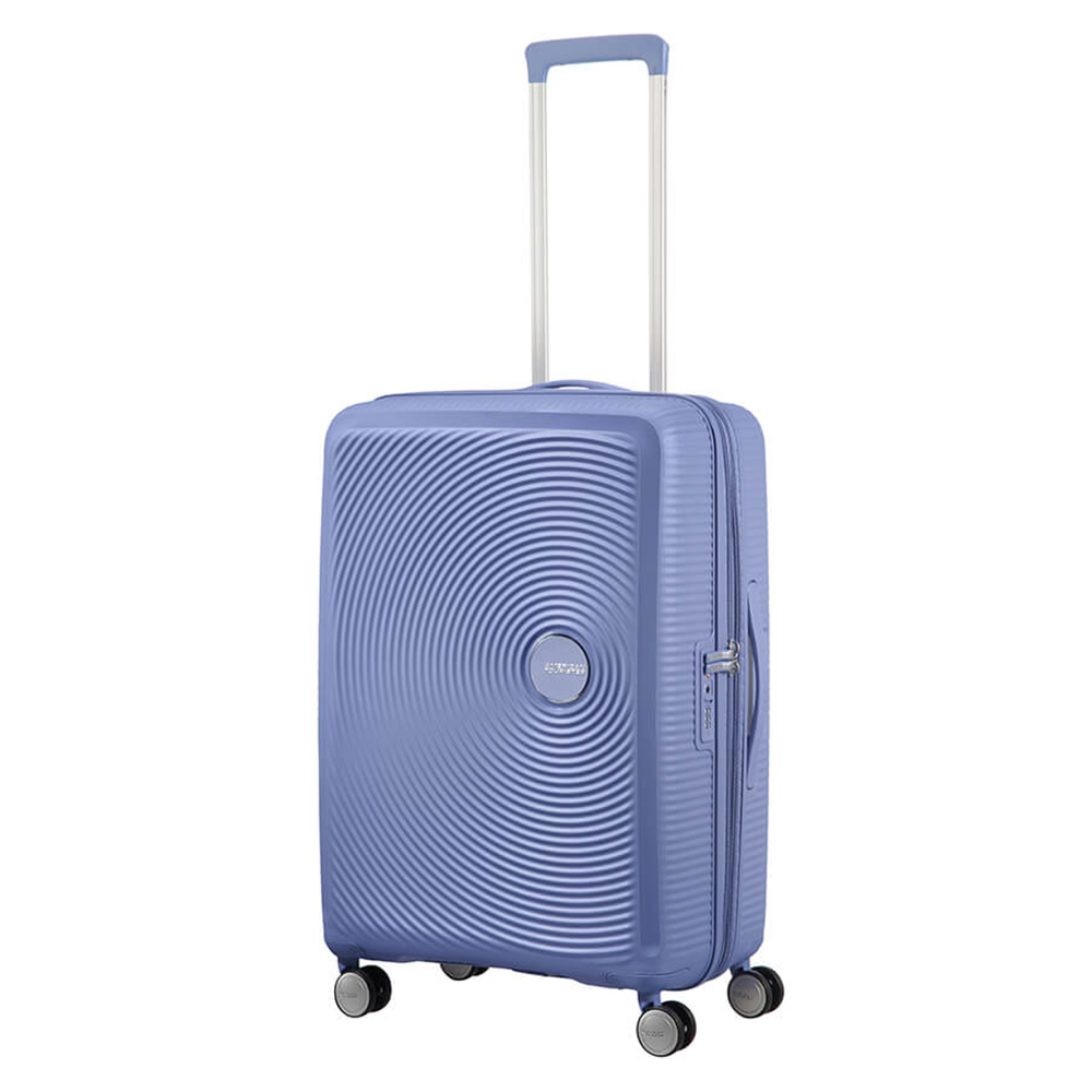 Harde Koffers American Tourister American Tourister Soundbox Spinner 67 Exp. Denim Blue