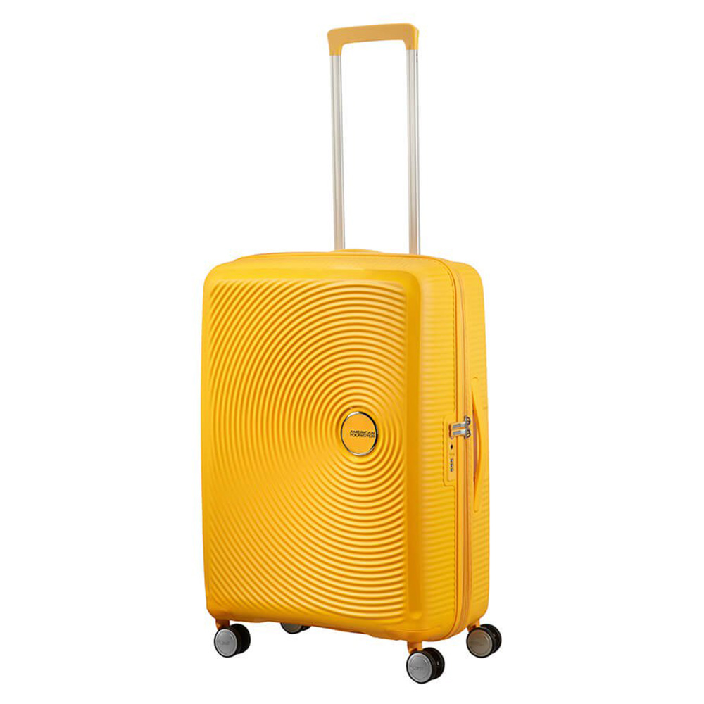 Harde Koffers American Tourister American Tourister Soundbox Spinner 67 Exp. Golden Yellow