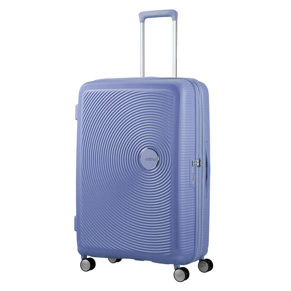 Harde Koffers American Tourister Soundbox Spinner 77 Exp. Denim Blue