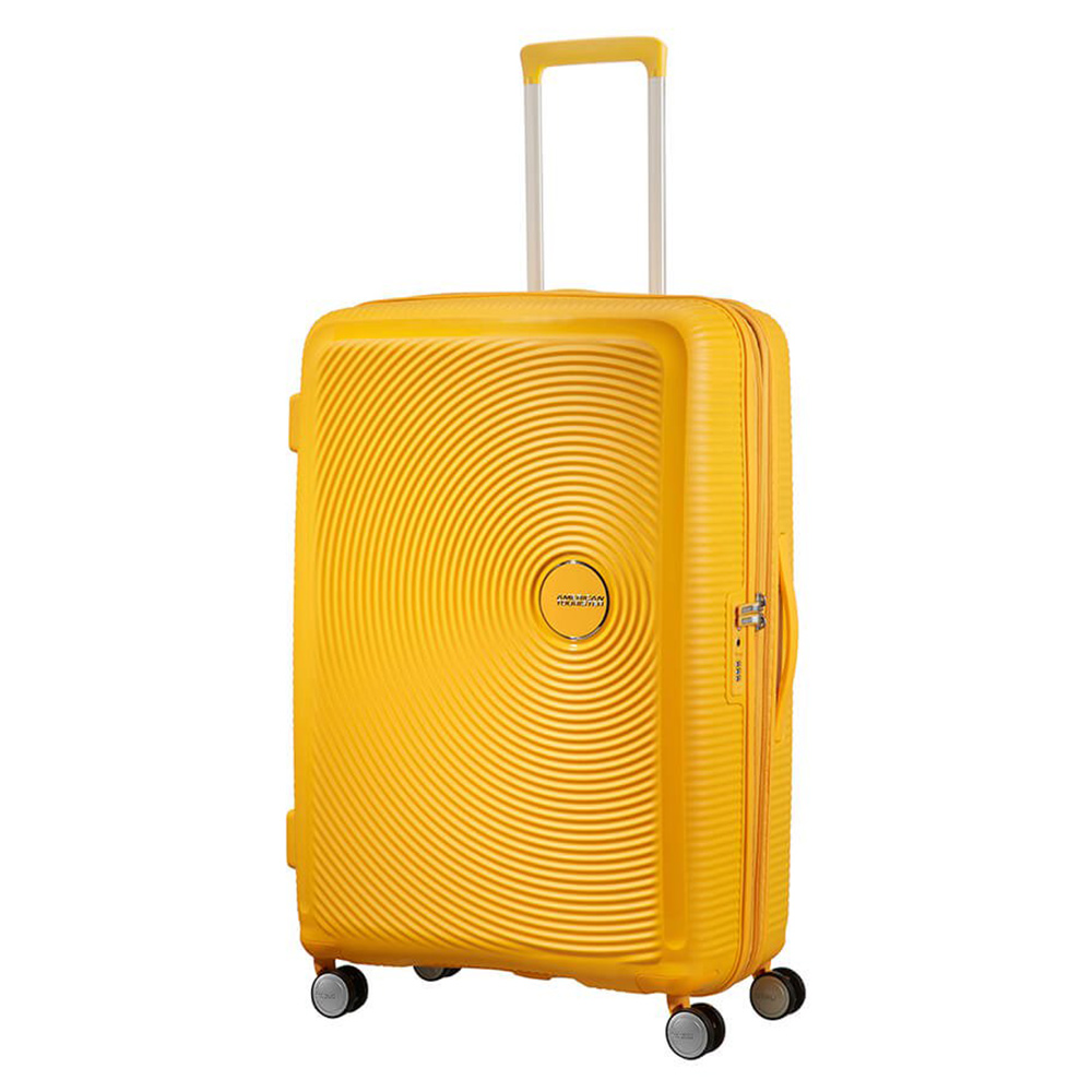 American Tourister Soundbox Spinner 77 Exp. Golden Yellow American Tourister Harde Koffers