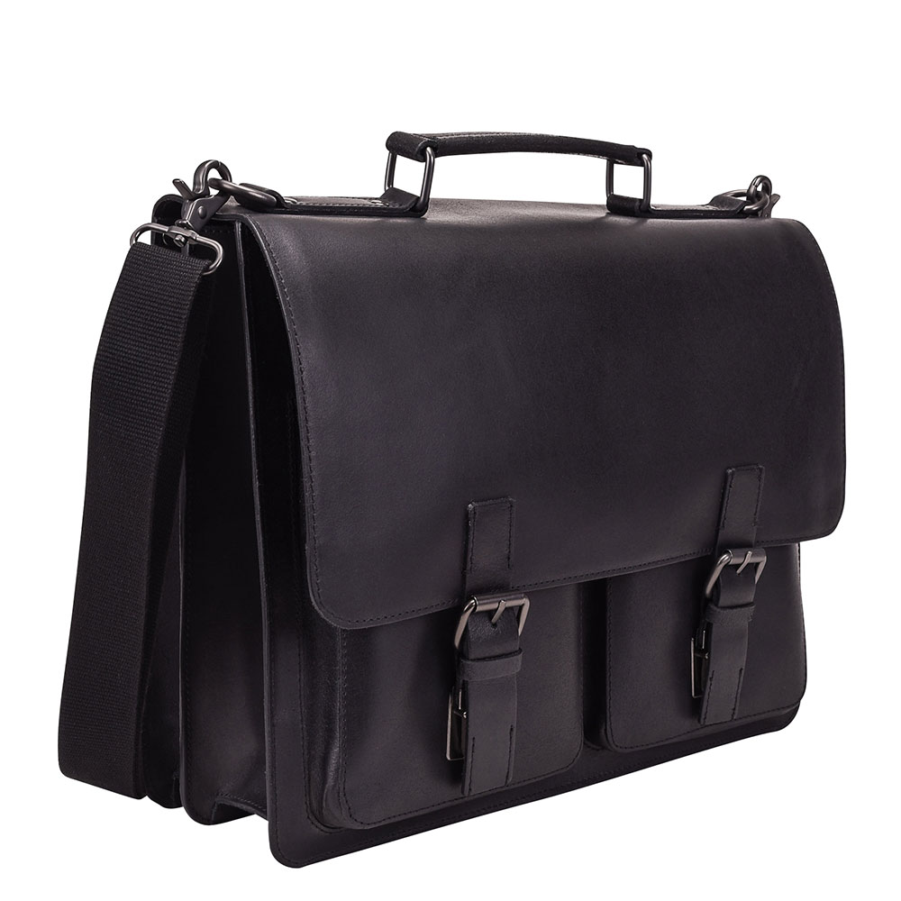 Leonhard Heyden Dakota Briefcase 2 Compartments Black 2826