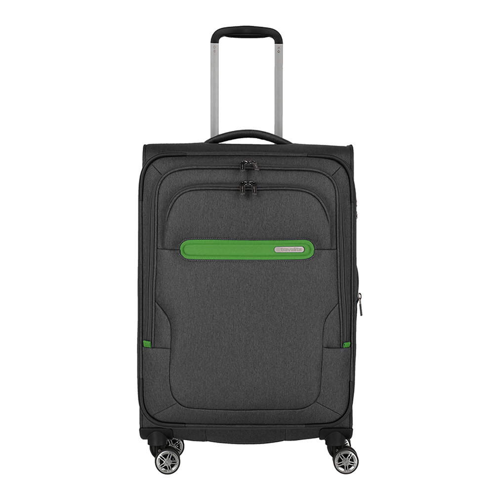 Travelite Madeira 4 Wiel Trolley M Expandable Antracite/Green