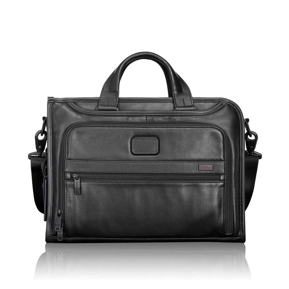 Tumi Alpha 2 Business Leather Slim Deluxe Portfolio Black
