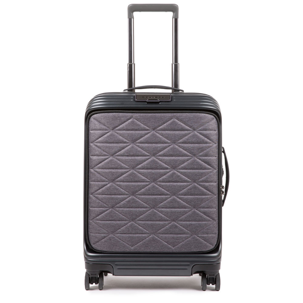 Piquadro PQ-BIZ USB Cabin Expandable Spinner 55 Soft Front Pocket Black - Grey