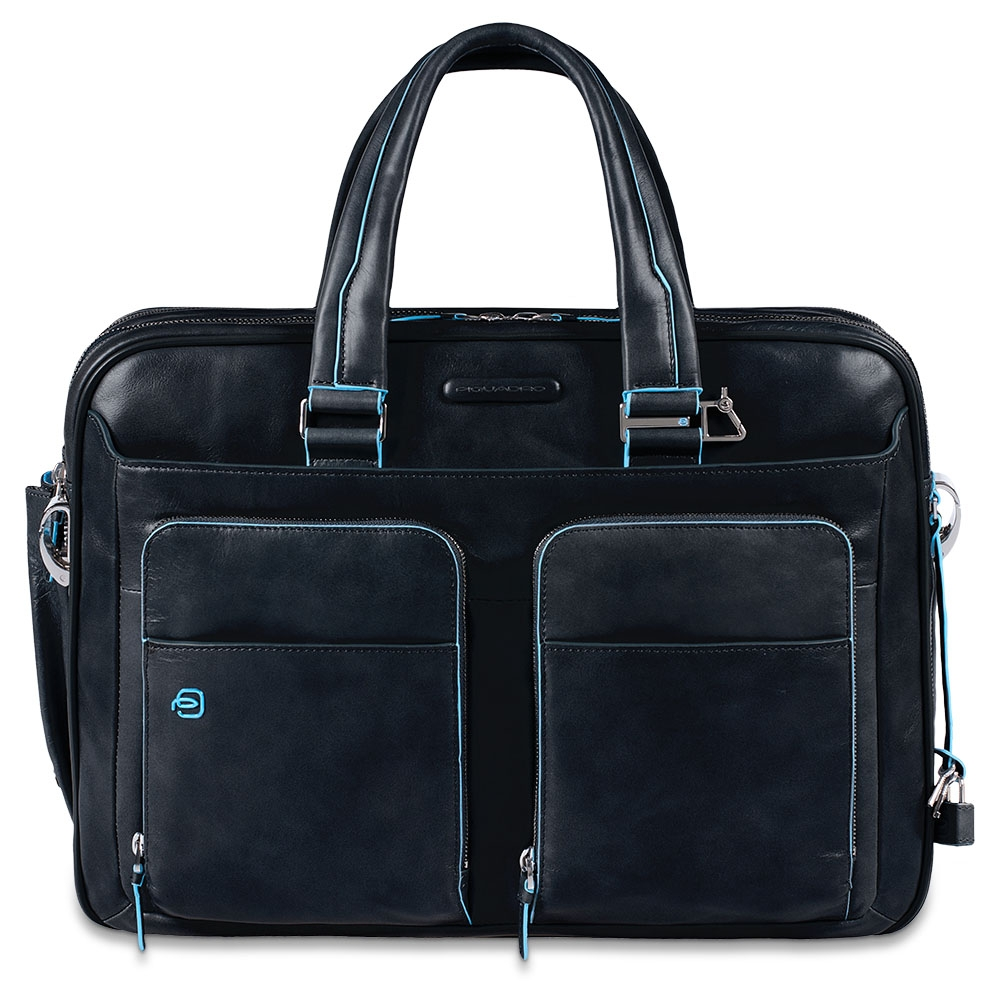 Piquadro Blue Square Expandable Computer Case 15