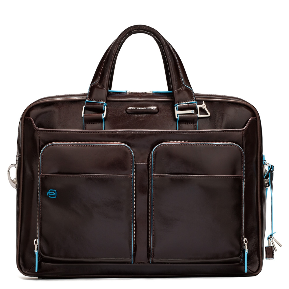 Piquadro Blue Square Portfolio Computer Briefcase 15 with iPad Mahogany