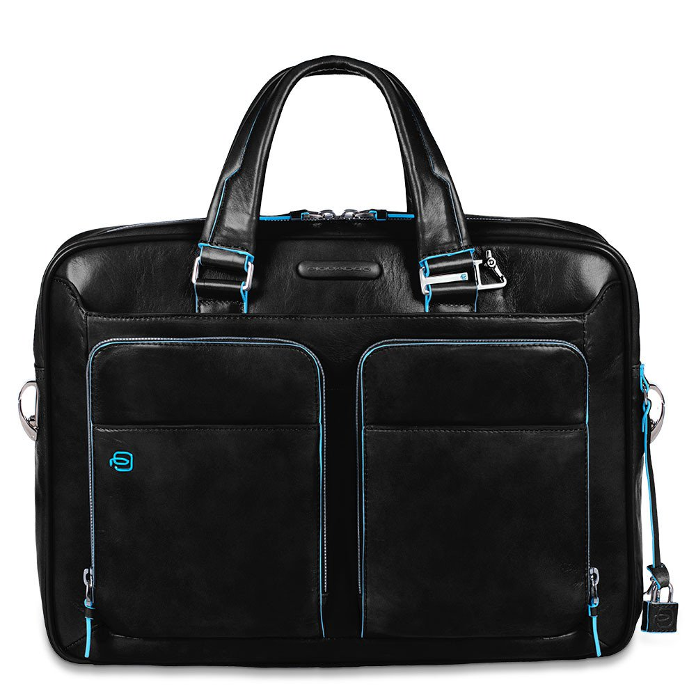 Piquadro Blue Square Portfolio Computer Briefcase 15 with iPad Black