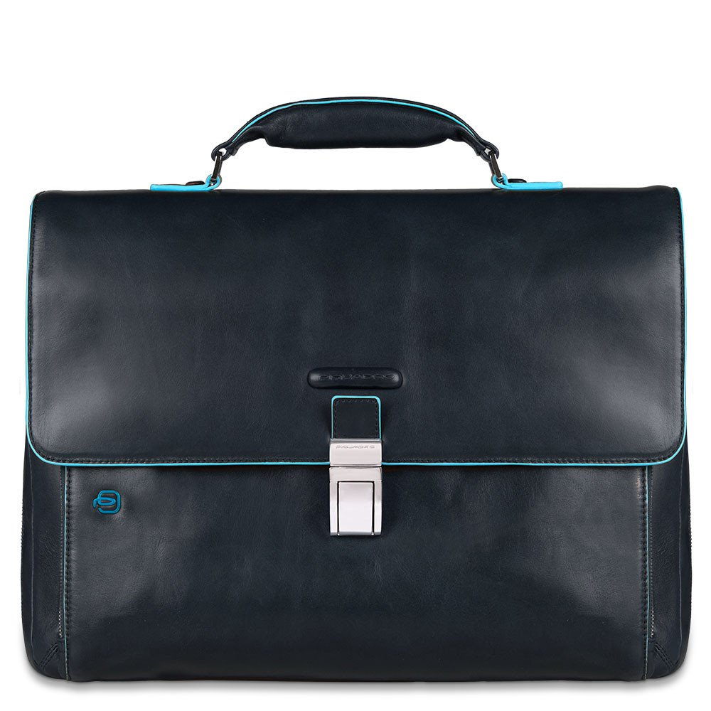 Piquadro Blue Square Expandable Computer Portfolio Briefcase 15 Night Blue