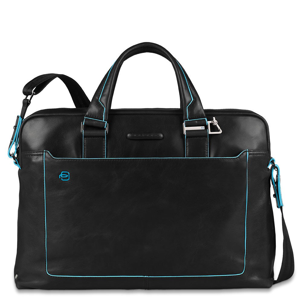 Piquadro Blue Square Double Handle Computer Portfolio Briefcase 14 Black
