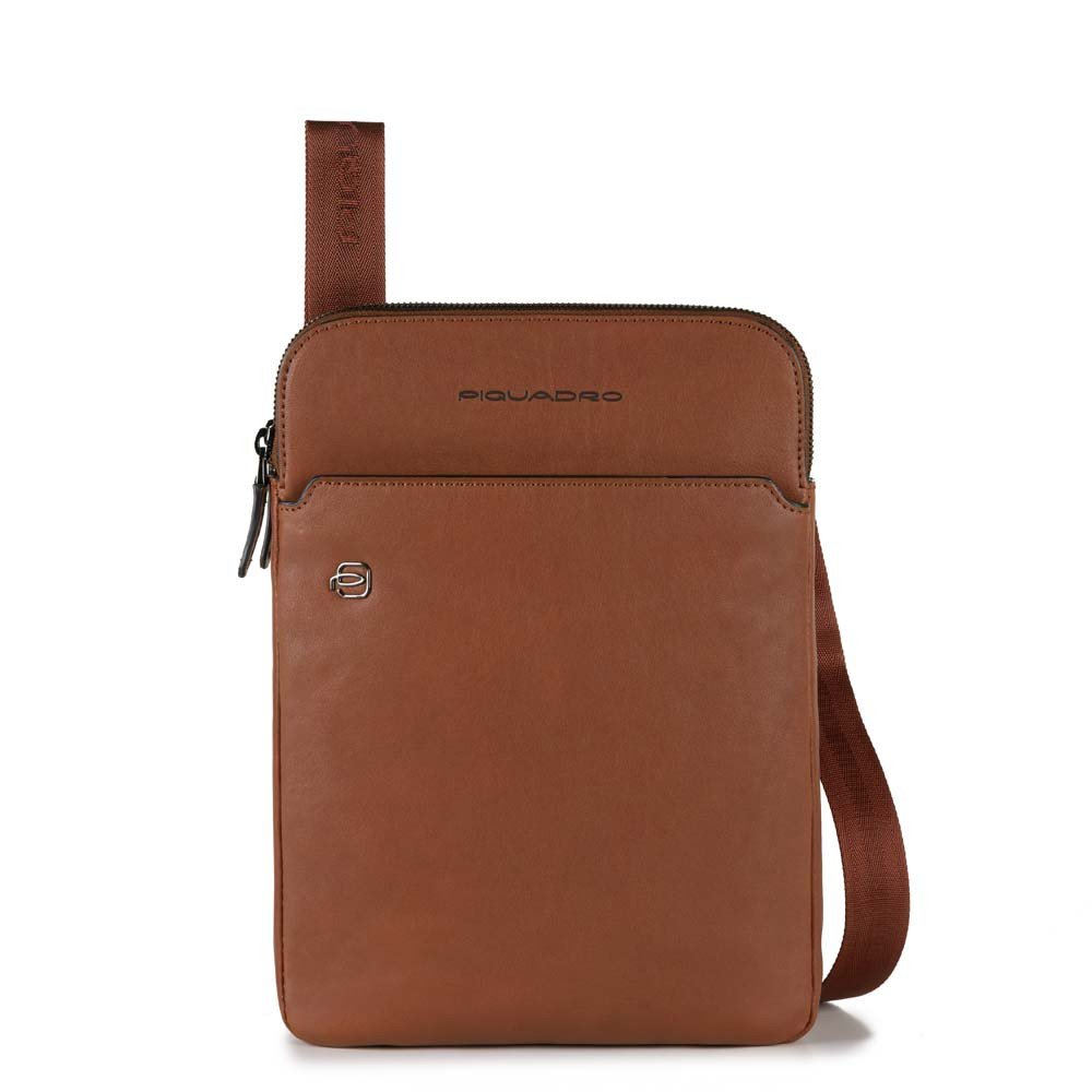 Piquadro Black Square Crossbody Bag iPad Air/Pro Tobacco