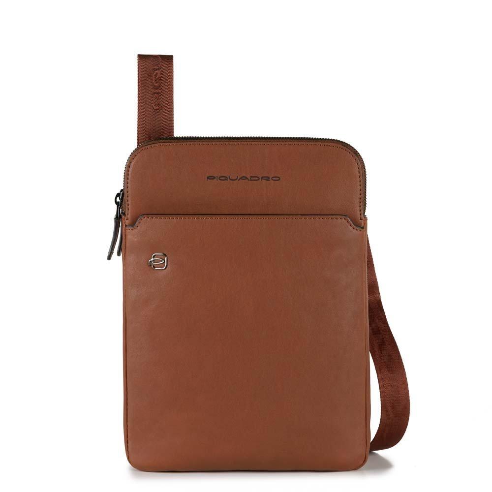 Piquadro Black Square Crossbody Bag iPad Air/Pro Tobacco