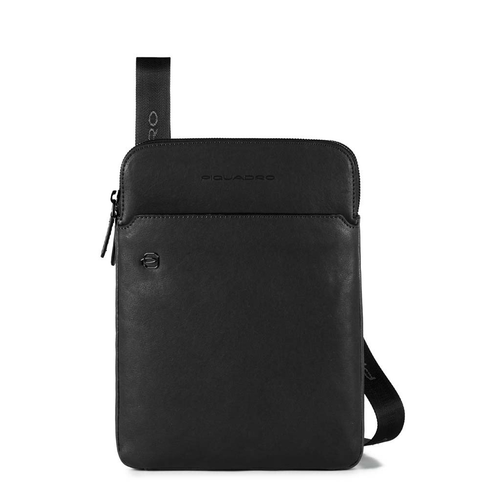 Piquadro Black Square Crossbody Bag iPad Air/Pro Black