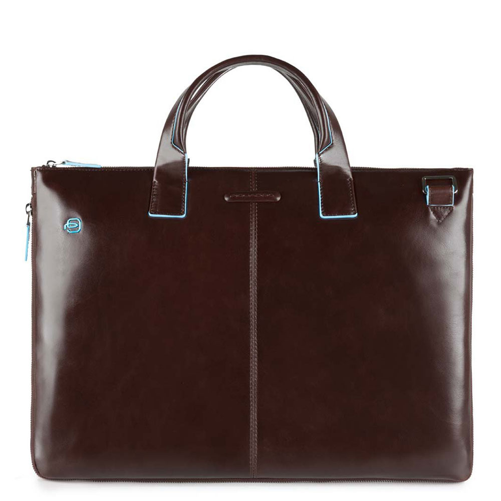 Piquadro Blue Square Expandable Slim Computer Bag 15.6 Mahogany
