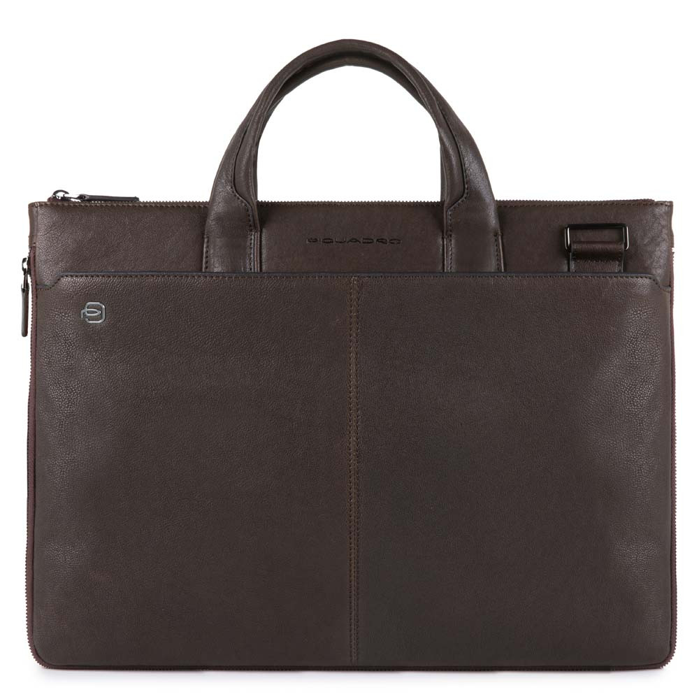 Piquadro Black Square Small Expandable Computer Bag 15.6'' Dark Brown