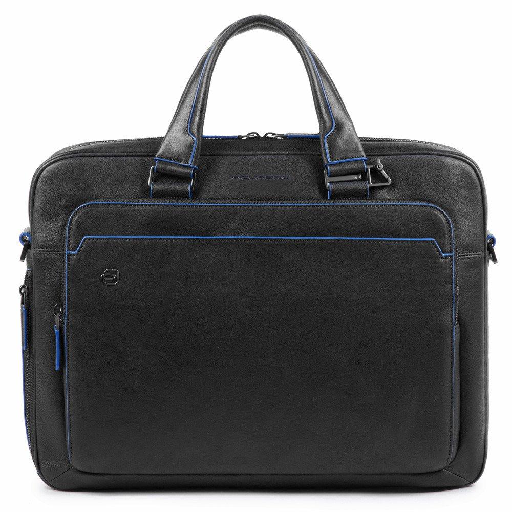 Piquadro Blue Square S Matte Portfolio Computer Briefcase Black