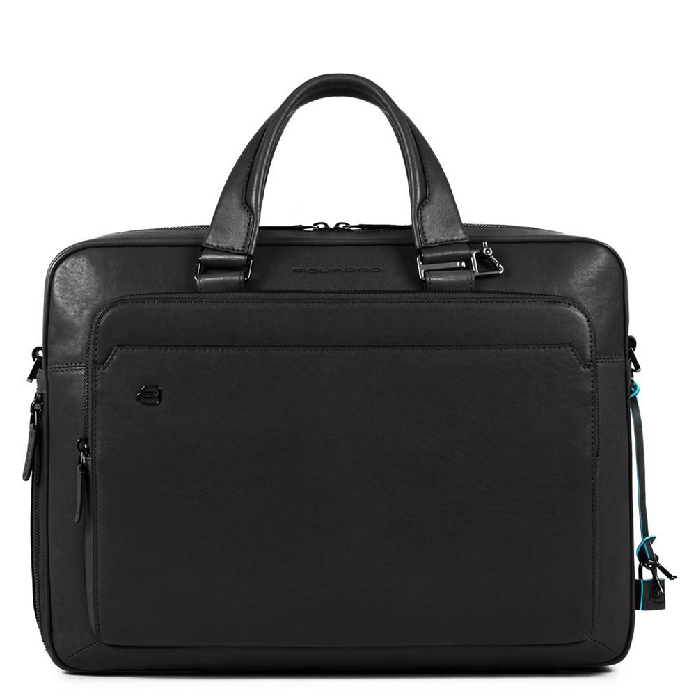Piquadro Black Square Briefcase 15