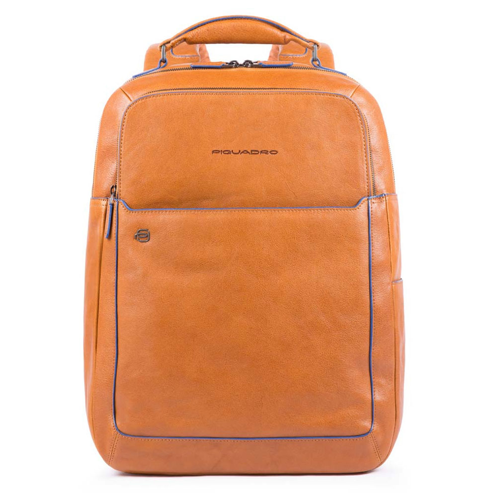 Piquadro Blue Square Fast Check Computer 15.6 Backpack iPad 10 Tobacco